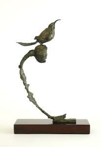 bronze sculpture, sugarbird, sculpture, sugarbird art