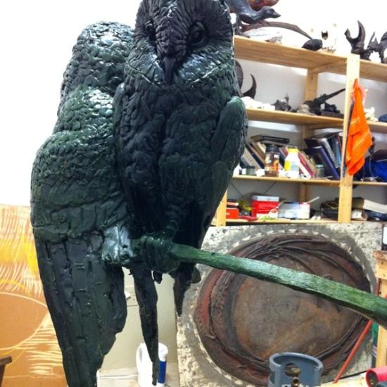 Barn Owls, sculpture, barn owl statue