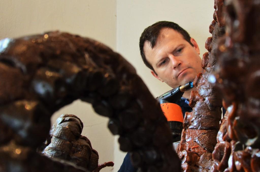 sculpture, giant Octopus , wax sculpture