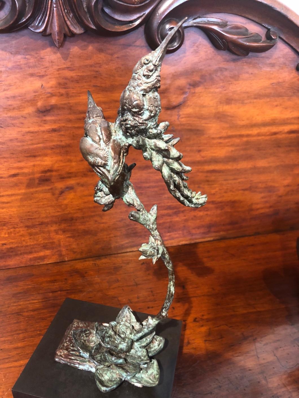 Sunbirds sculpture, bronze, botanical,art