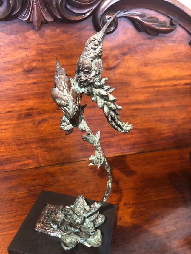Sunbirds sculpture, bronze, botanical,art